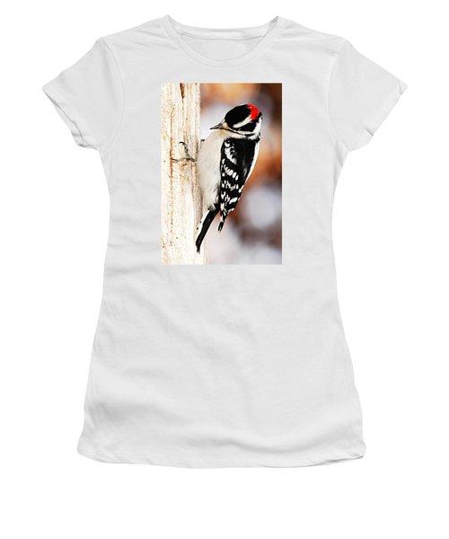 Male Downy Woodpecker 3 Women's T-Shirt