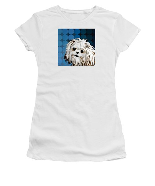 Women's T-Shirt (Junior Cut) featuring the painting Maltese Magic by Leanne WILKES