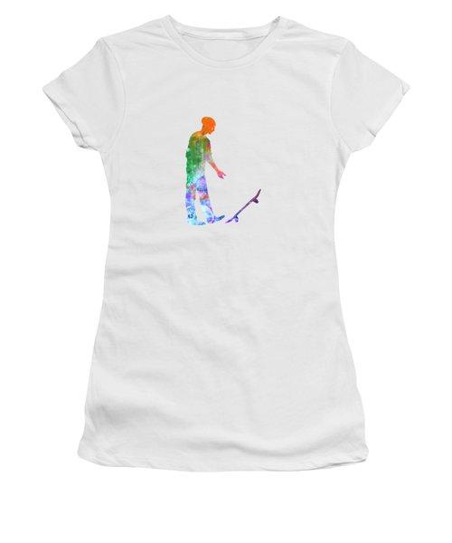 Man Skateboard 09 In Watercolor Women's T-Shirt