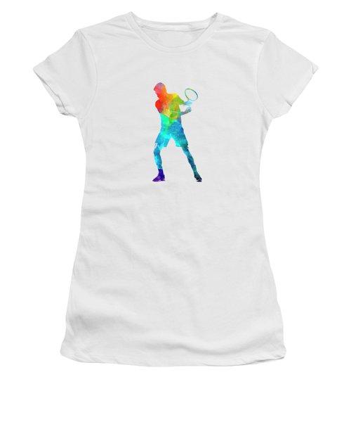 Man Tennis Player 02 In Watercolor Women's T-Shirt