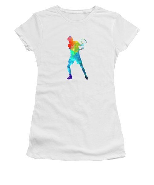 Man Tennis Player 02 In Watercolor Women's T-Shirt (Athletic Fit)