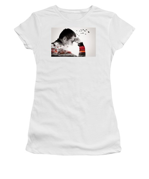 Man Thinking Double Exposure With Birds Women's T-Shirt