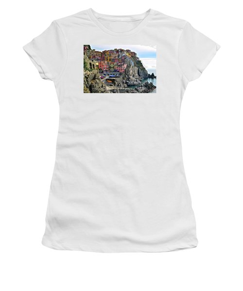 Women's T-Shirt (Junior Cut) featuring the photograph Manarola Version Four by Frozen in Time Fine Art Photography