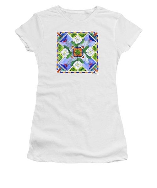 Mandala IIi - White Hibiscus Women's T-Shirt