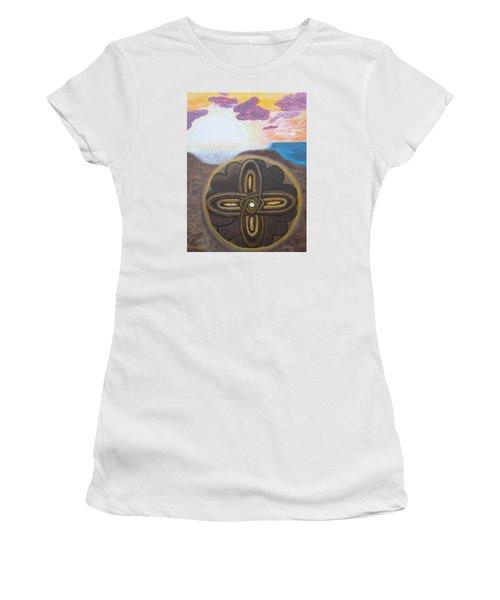 Mandala In The Sand Women's T-Shirt (Junior Cut) by Cheryl Bailey