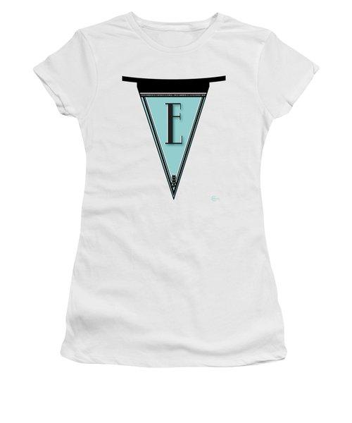 Pennant Deco Blues Banner Initial Letter E Women's T-Shirt