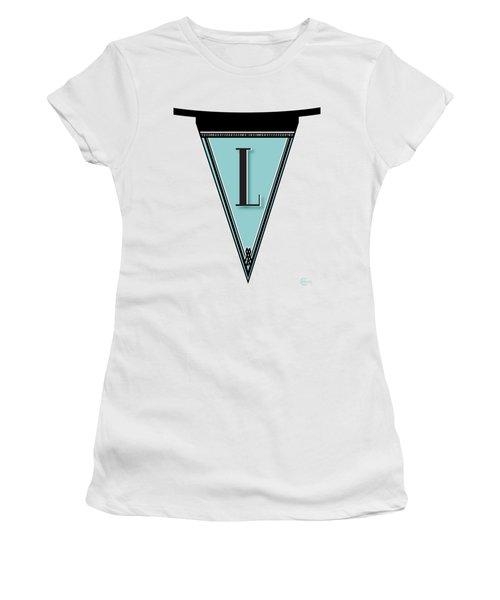 Pennant Deco Blues Banner Initial Letter L Women's T-Shirt