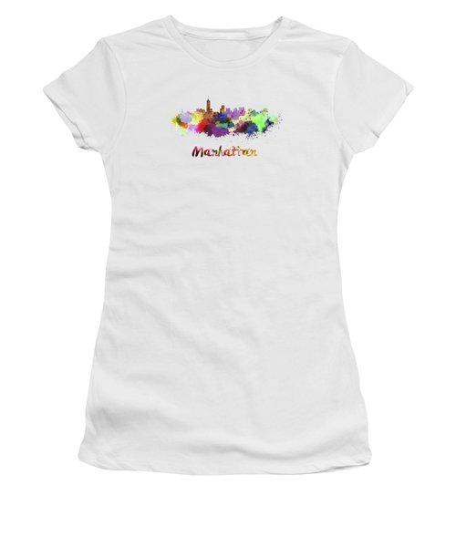 Manhattan Skyline In Watercolor Women's T-Shirt