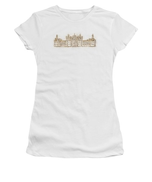 Map Of The Castle Chambord Women's T-Shirt (Junior Cut) by Anton Kalinichev