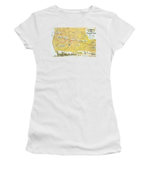 Map Of The Old Oregon Trail Women's T-Shirt