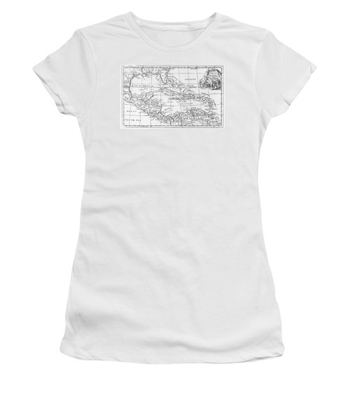 Map Of The West Indies Florida And South America Women's T-Shirt