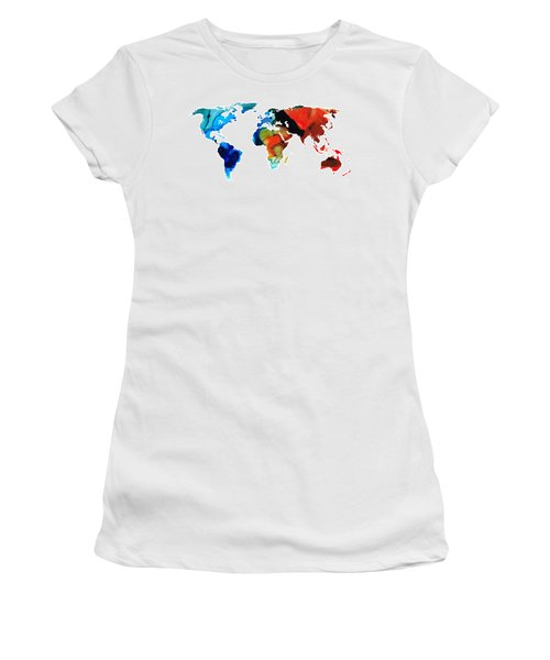 Women's T-Shirt (Athletic Fit) featuring the painting Map Of The World 3 -colorful Abstract Art by Sharon Cummings