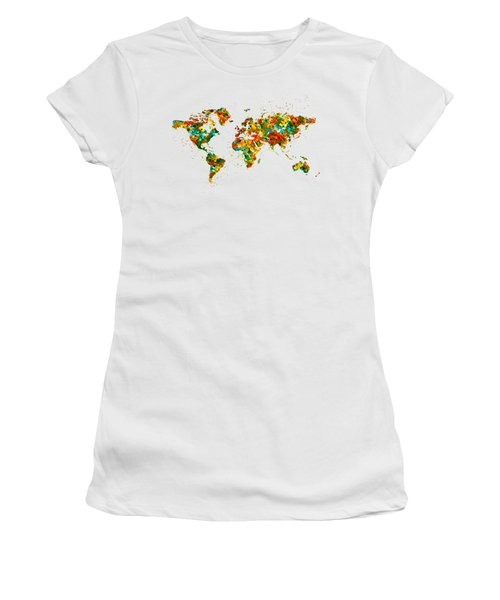 Map Of The World Watercolor Women's T-Shirt