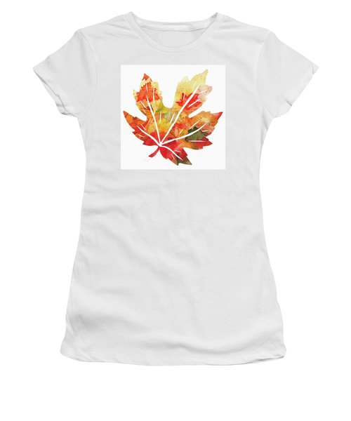 Women's T-Shirt (Athletic Fit) featuring the painting Maple Leaf Watercolor Silhouette  by Irina Sztukowski