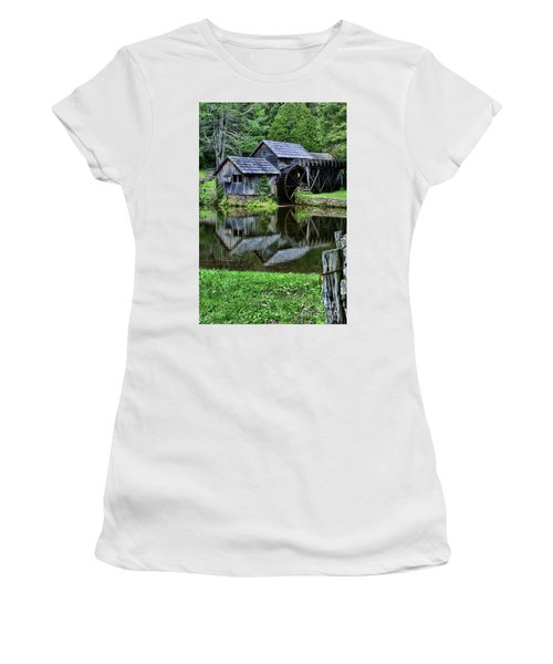 Women's T-Shirt (Junior Cut) featuring the photograph Marby Mill Reflection by Paul Ward