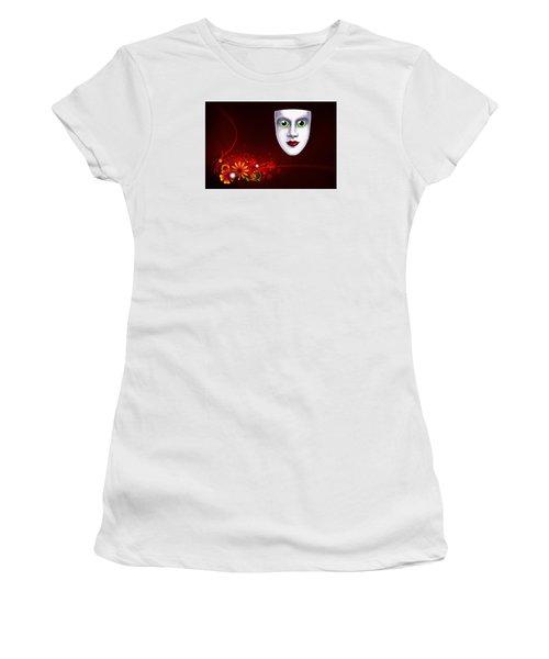 Women's T-Shirt (Junior Cut) featuring the photograph Mardi Gras Mask Red Vines by Gary Crockett
