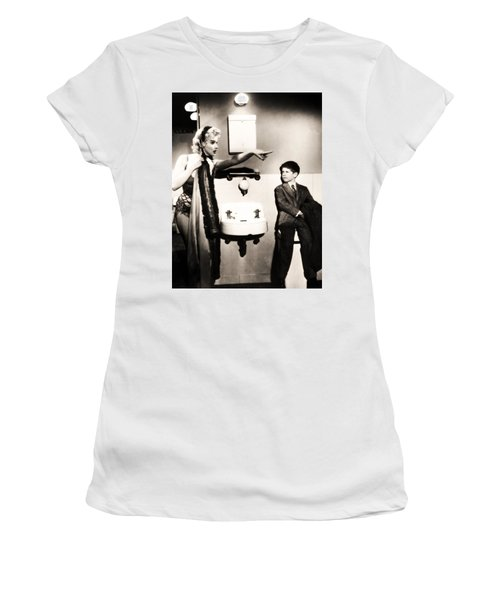 Women's T-Shirt (Athletic Fit) featuring the photograph Marilyn Monroe Spied On By Cheeky Boy In Changing Room by R Muirhead Art