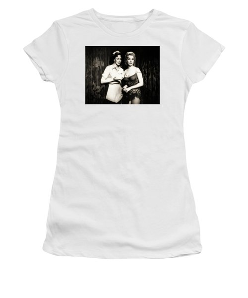 Women's T-Shirt (Athletic Fit) featuring the photograph Marilyn Monroe Bus Stop Scene With Eileen Heckart  by R Muirhead Art
