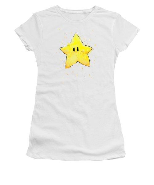 Mario Invincibility Star Watercolor Women's T-Shirt