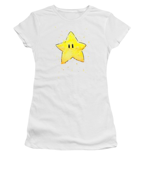 Mario Invincibility Star Watercolor Women's T-Shirt (Athletic Fit)