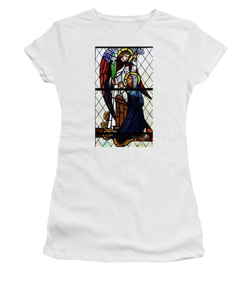 Mary And The Angel Gabriel Women's T-Shirt (Junior Cut) by Debby Pueschel