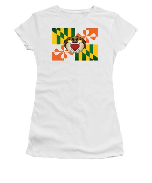 Maryland Irish Claddagh Art Women's T-Shirt (Athletic Fit)