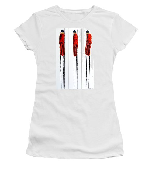 Masai Warrior Triptych - Original Artwork Women's T-Shirt (Athletic Fit)