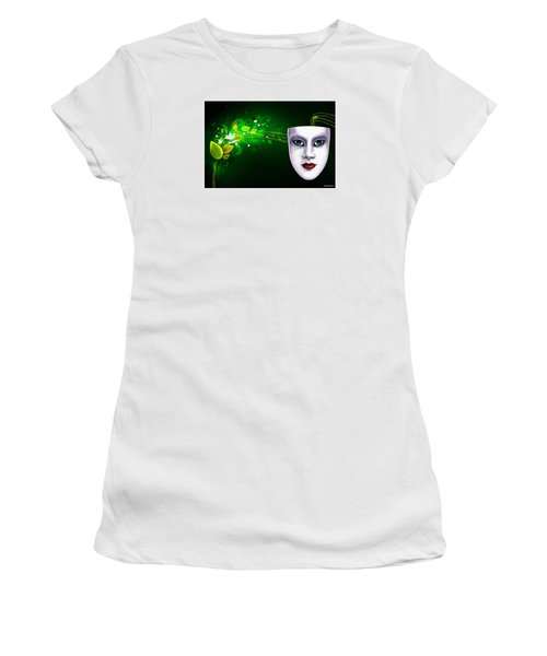 Women's T-Shirt (Junior Cut) featuring the photograph Mask Blue Eyes On Green Vines by Gary Crockett