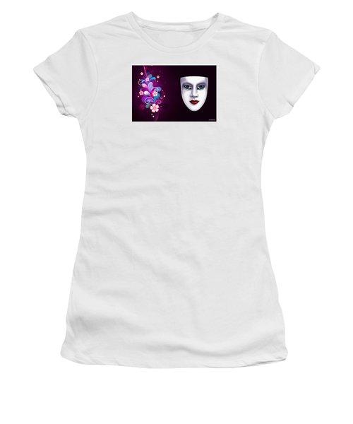 Women's T-Shirt (Junior Cut) featuring the photograph Mask With Blue Eyes Floral Design by Gary Crockett
