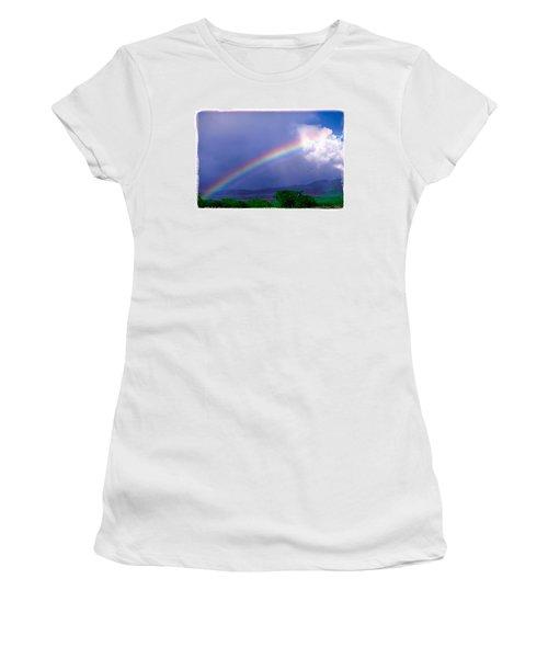 Women's T-Shirt (Junior Cut) featuring the photograph Maui Rainbow by Marie Hicks