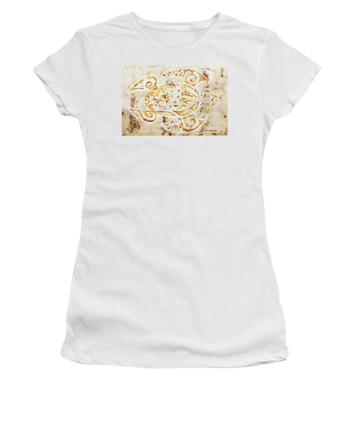 Women's T-Shirt (Junior Cut) featuring the painting Mayan Turtle by J- J- Espinoza