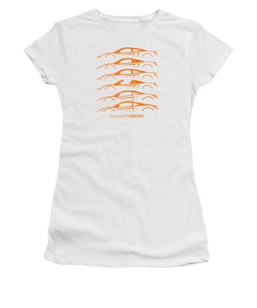 Mcsportscar Silhouettehistory Women's T-Shirt (Junior Cut) by Gabor Vida