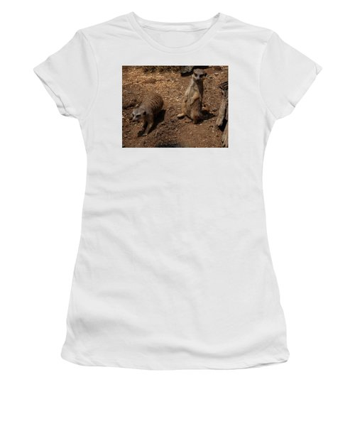 Women's T-Shirt (Athletic Fit) featuring the photograph Meerkats by Chris Flees