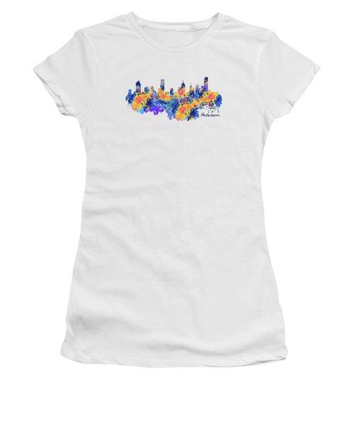 Melbourne Watercolor Skyline Women's T-Shirt (Athletic Fit)