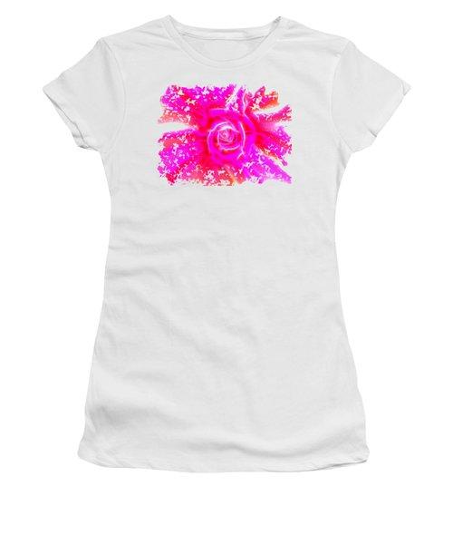 Melting Pink Rose Fractalius Women's T-Shirt