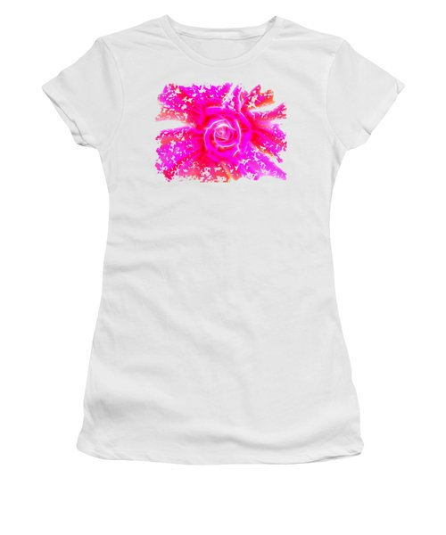 Melting Pink Rose Fractalius Women's T-Shirt (Athletic Fit)