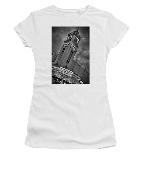 Merle Haggard Rip Fox Theater Black And White Women's T-Shirt (Athletic Fit)