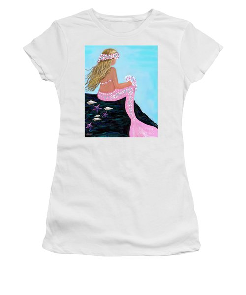 Women's T-Shirt (Athletic Fit) featuring the painting Mermaid Sweetie by Leslie Allen