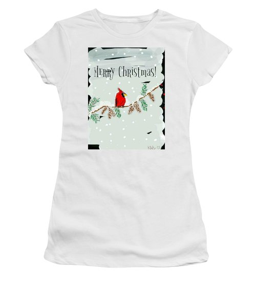 Merry Christmas Cardinal Women's T-Shirt (Athletic Fit)