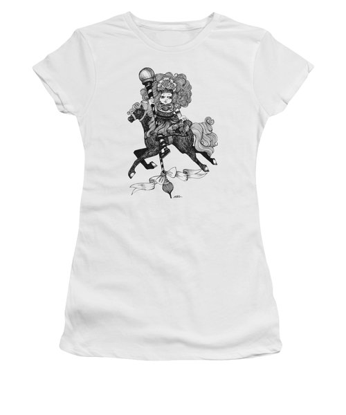 Merry-go-round Girl Women's T-Shirt (Junior Cut) by Akiko Okabe