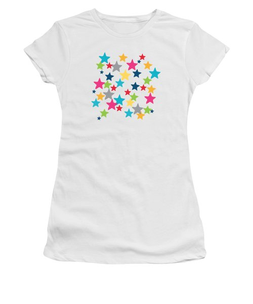 Women's T-Shirt (Junior Cut) featuring the painting Messy Stars- Shirt by Linda Woods