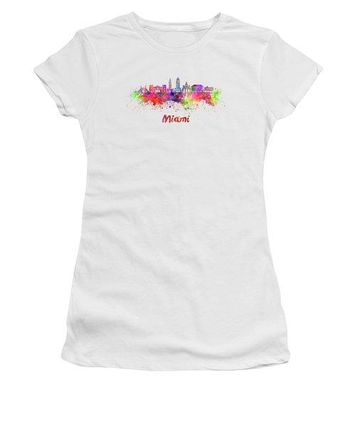 Miami V2 Skyline In Watercolor Women's T-Shirt