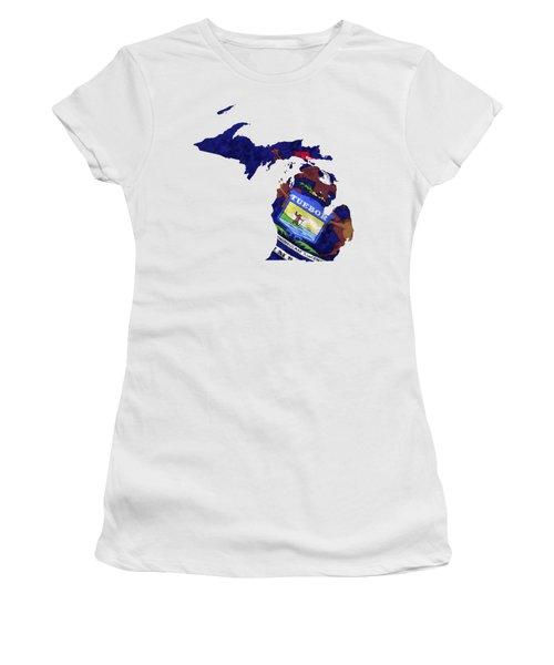 Michigan Map Art With Flag Design Women's T-Shirt