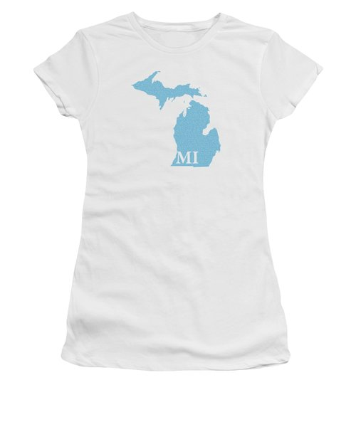 Michigan State Map With Text Of Constitution Women's T-Shirt (Junior Cut) by Design Turnpike