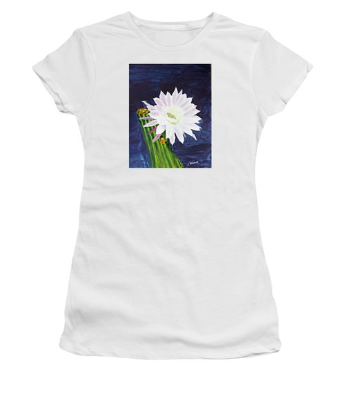Women's T-Shirt (Junior Cut) featuring the painting Midnight Blossom by Jack G  Brauer