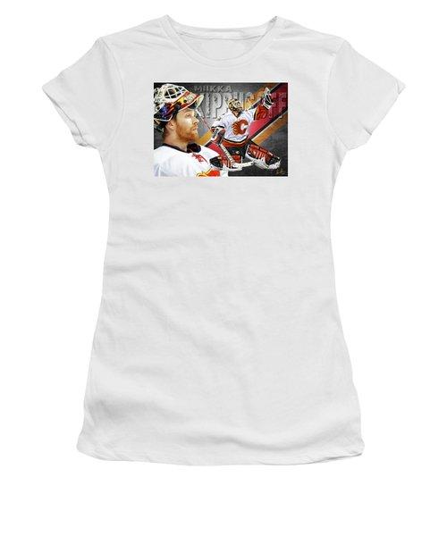 Miikka Kiprusoff Women's T-Shirt (Junior Cut) by Don Olea
