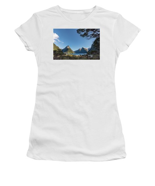Women's T-Shirt (Athletic Fit) featuring the photograph Milford Sound Overlook by Gary Eason