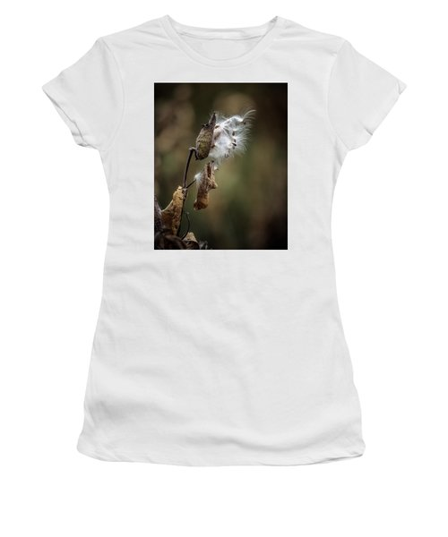 Milkweed Plant Dried And Blowing In The Wind Women's T-Shirt (Junior Cut) by John Brink