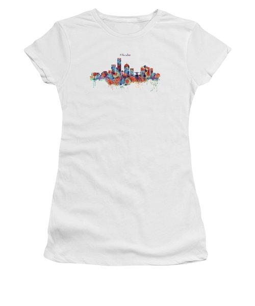 Milwaukee Watercolor Skyline Women's T-Shirt