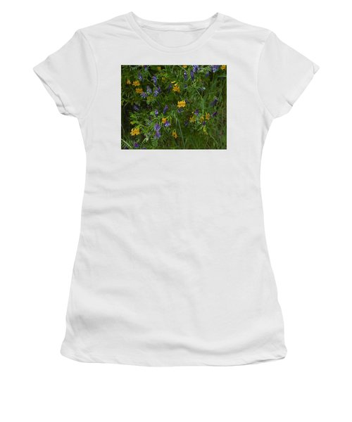Women's T-Shirt (Junior Cut) featuring the photograph Mimulus And Vetch by Doug Herr